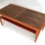 Mahogany and Bookmatched Crotch Walnut Coffee Table