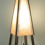 "Pyramid Table Lamp Walnut Frame Fiber Paper Shade 10"" x 10"" x 30"""