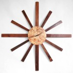 "Sunburst Clock - Walnut and Spalted Maple Burl - 36"" diameter Available for Sale"