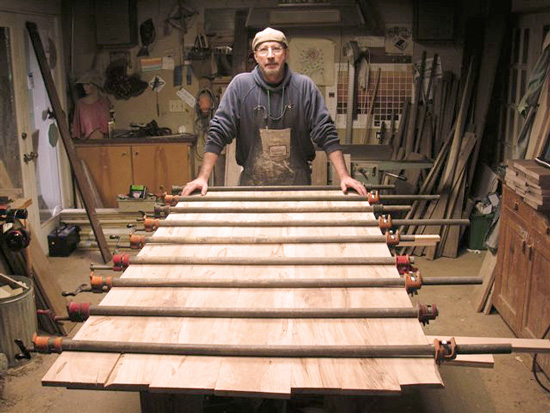 Bob Batura in the shop at Cutting Edge Woodworks